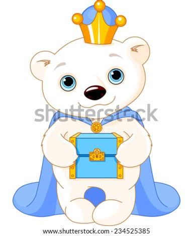 Polar Bear, Biblical Magi, the wise men follow the Star of Bethlehem - stock vector