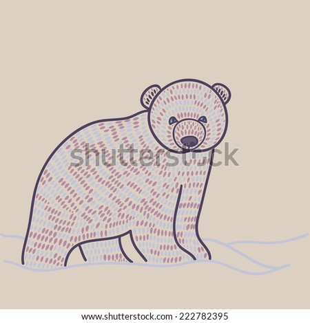 polar bear cub - stock vector