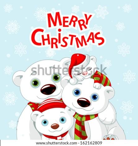 Polar bear family Christmas greeting card - stock vector