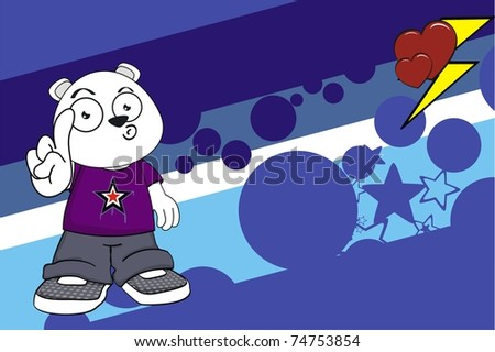 polar bear kid cartoon background in vector format
