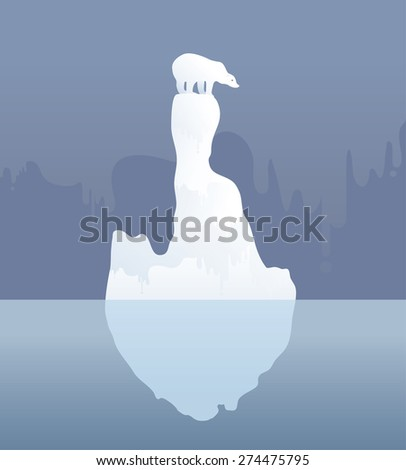 Polar bear on an ice floe. Possible result of climate change, Vector illustration - stock vector