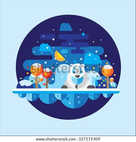 Polar bear sitting in a vector landscape. - stock vector