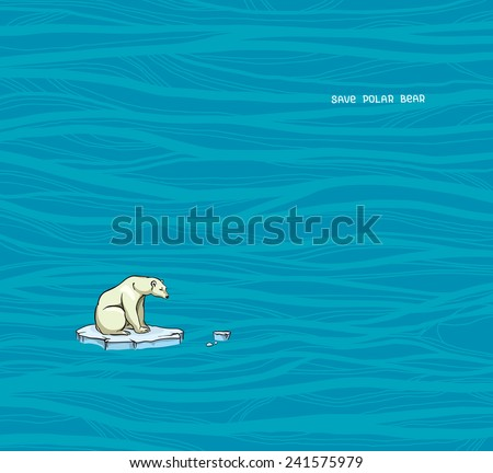 Polar bear sitting on a melting ice in a sea. Global warming problem. - stock vector
