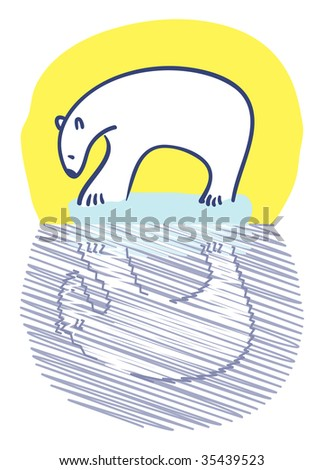 Polar bear standing on small iceberg staring at reflection
