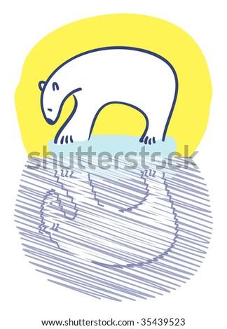 Polar bear standing on small iceberg staring at reflection - stock vector