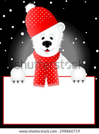 Polar Bear with Hat Peeking Over Blank Sign/Frame - stock vector