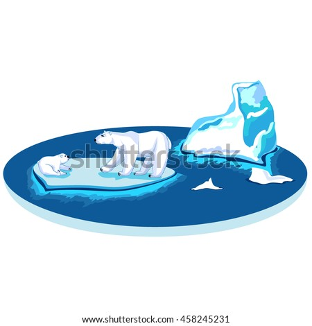Polar bears adult and the kid next to the iceberg on a flat circle in the sea - stock vector
