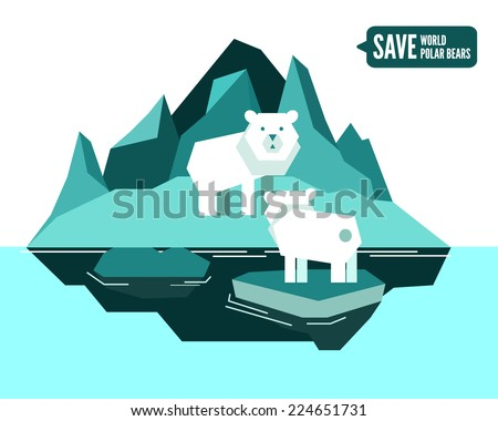 Polar bears is separated from family. global warming concept. flat design element. vector illustration - stock vector