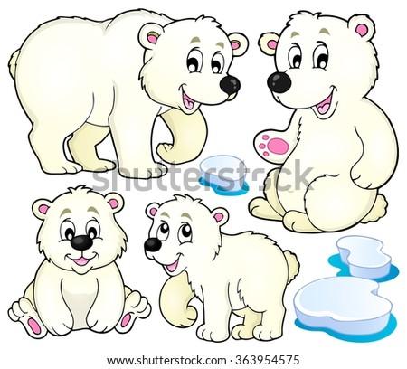 Polar bears theme collection 1 - eps10 vector illustration. - stock vector