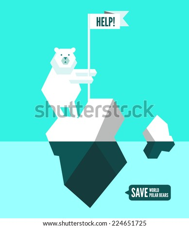 Polar bears with help sign. flat design element. vector illustration - stock vector