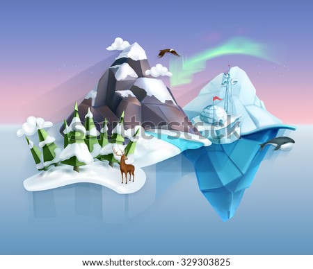 Polar nature, winter wonderland, low poly style landscape, vector infographic - stock vector