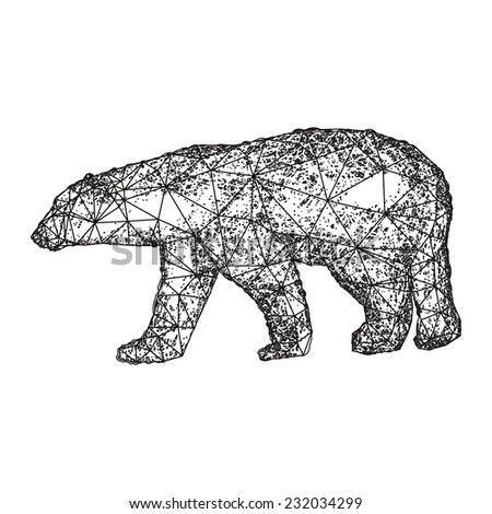 Polar white bear stylised illustration isolated on white - stock vector