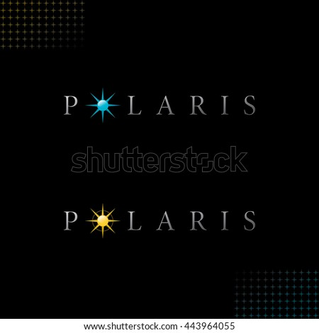 Polaris Logo with Authentic Star Symbols - Light Grey Letters with Colored Yellow and Blue Relief Glossy Objects on Black Background with Star Symbol Decor Elements - Gradient and Flat Mixed Graphic - stock vector