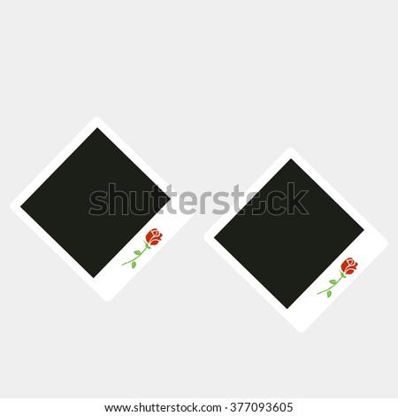Polaroid camera type photo frames on a grey background - stock vector