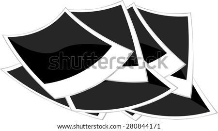 polaroid empty photo frame set isolated on white vector - stock vector