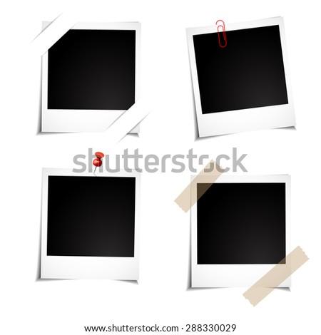 polaroid photo to your family photo album - stock vector