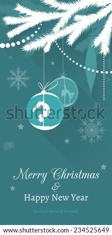 Pole dance Christmas Cards. Vector silhouettes of pole dancers painted on Christmas balls, hanging on christmas tree branch. - stock vector