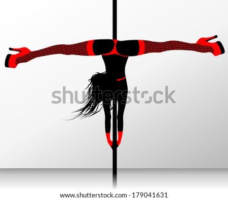 Pole dance. Erotic striptease - stock vector