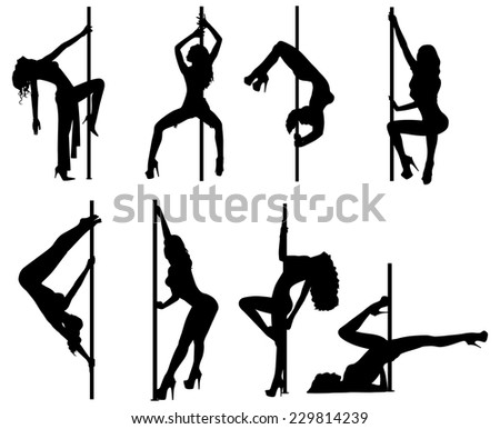 Pole dance women silhouettes. EPS 10 format. - stock vector