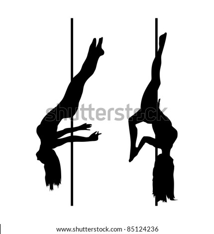 pole dancer silhouettes - stock vector