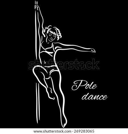 Pole dancer with long hair hanging on the pole on the black background. - stock vector