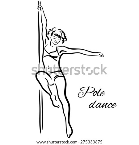 Pole dancer with long hair hanging on the pole on the white background. - stock vector