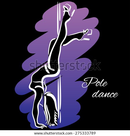 Pole dancer with long hair hanging on the pole upside down on the black background. - stock vector