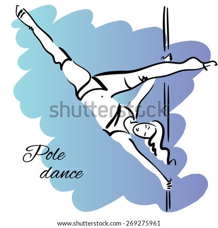 Pole dancer with long hair hanging on the pole upside down on the blue & violet background. - stock vector