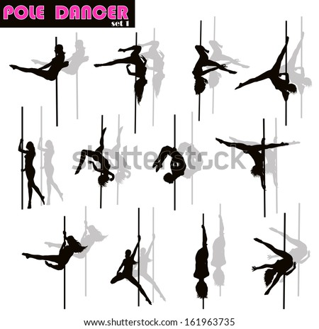 Pole dancer woman vector silhouettes set. Separate layers - stock vector