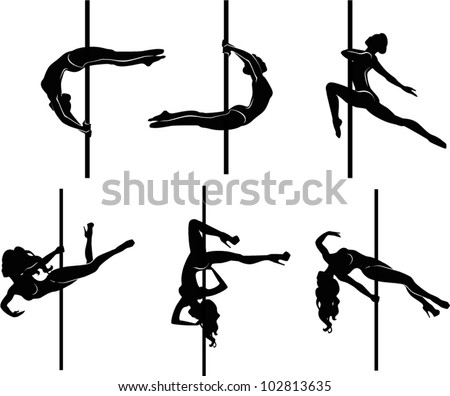 Pole dancers silhouettes. The vector illustration of a set of pole dancers silhouettes. - stock vector