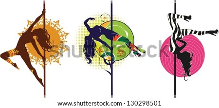 Pole dancers. The vector illustration of three pole dancers silhouettes in different styles. - stock vector