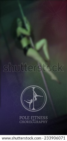 Pole Fitness and Choreography Figures Poster. Vintage Stamp on Defocused Photo Background - stock vector