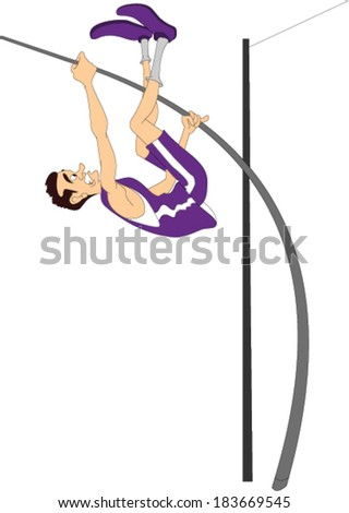 Pole Vaulter - stock vector