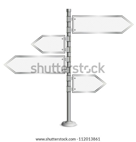 Pole with Blank Road Signs, concept decision choice, isolated on white background, vector - stock vector