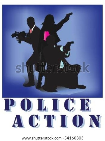 Police Action. - stock vector