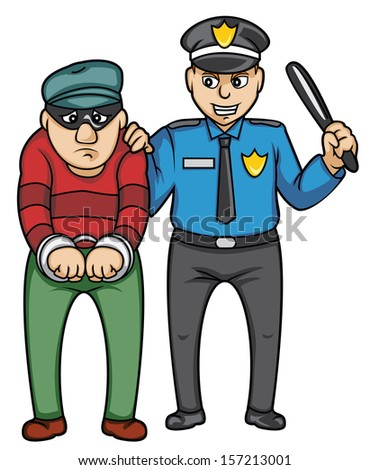 police and bandit - stock vector