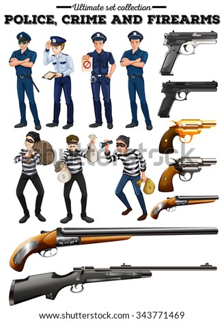 Police and criminal set illustration