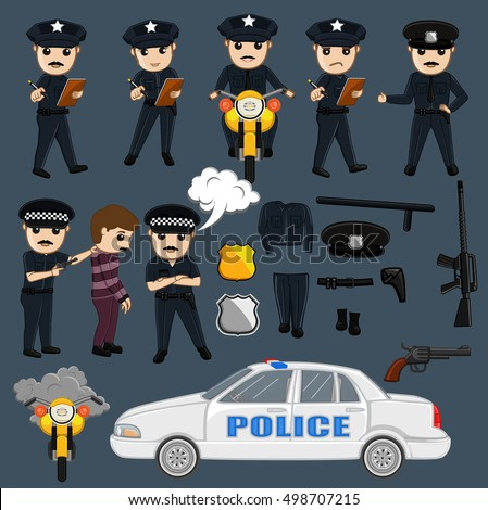 Police and Equipments Vector