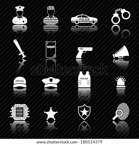 Police and law enforcement icons  - stock vector