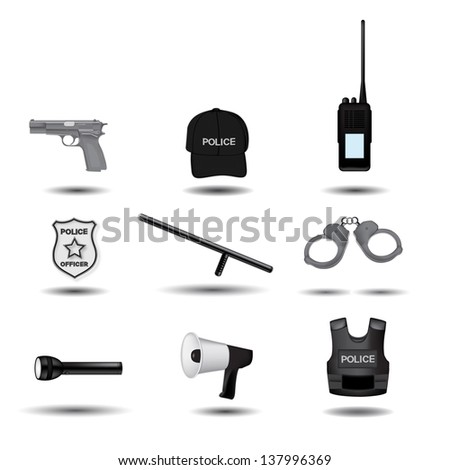 Police and law enforcement vector icons - stock vector