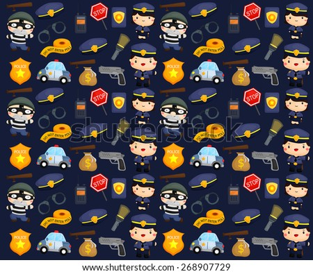 Police and robber background - stock vector