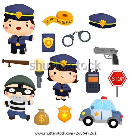 Police and robber vector set - stock vector