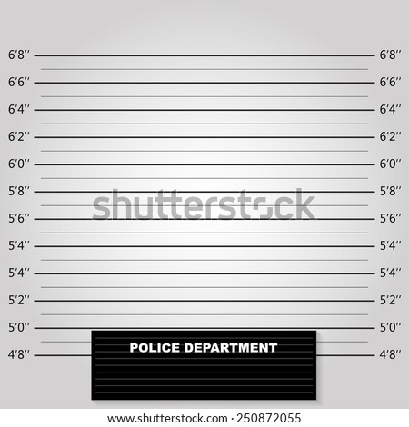 Police background measuring lines mugshot vector - stock vector