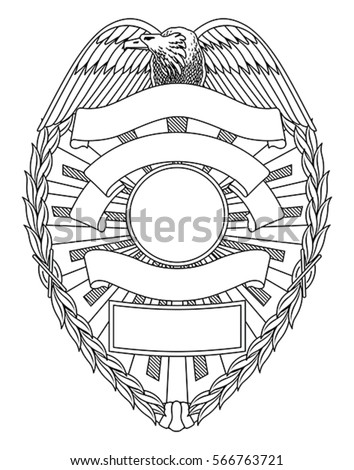 police badge blank is an illustration of a police or law enforcement badge with open space