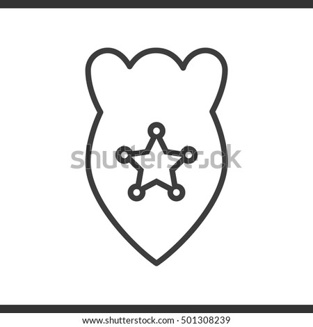 police badge linear icon thin line illustration vector isolated outline drawing