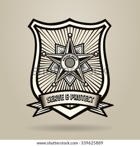 Police Badge with wording Serve and Protect. Illustration in Engraving Style . Free font used. - stock vector