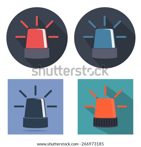 Police beacon icon set - stock vector