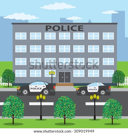 Police building and two police cars on the road. - stock vector