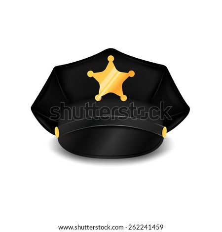police cap with cockade on a white background. Vector illustration - stock vector