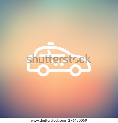 Police car icon thin line for web and mobile, modern minimalistic flat design. Vector white icon on gradient mesh background. - stock vector